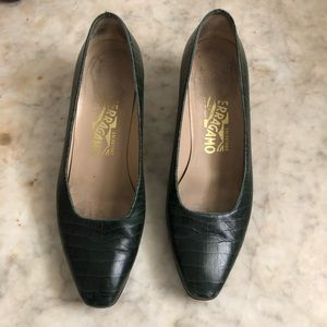 Vintage Ferragamo Croc-Embossed Heels